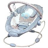Babywippe mit Musik und Vibration Babyschaukel Babywiege Spielebogen stabiles Metallgestell grau/Stars