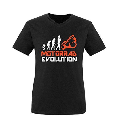 EZYshirt® Motorrad Evolution Herren V-Neck T-Shirt Schwarz/Weiss/Orange