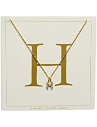 Johnny Loves Rosie Women Gold Plated Glass Chain Necklace of Length 48cm H Initial Gift Card