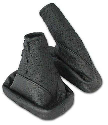 L&P A104-1 Set Cuffia leva cambio e cuffia freno a mano - vera pelle nero perforato