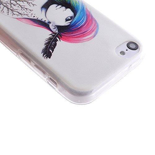 iPhone 5C Hülle,iPhone 5C Case [Scratch-Resistant] , Cozy Hut Apple iPhone 5C Ultra Slim Perfect Fit Painted Designs Design Muster Malerei TPU Clear Transparent Protective back Hülle Hüllen Beschützer Farbe Frau