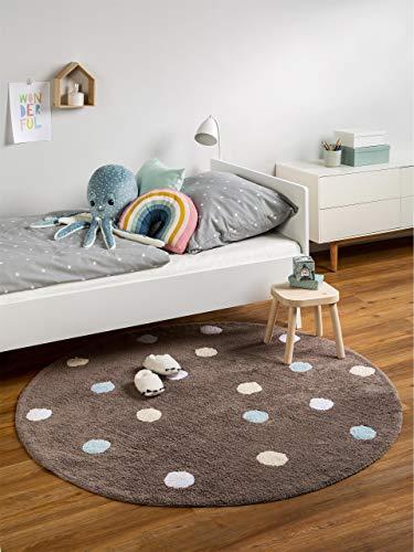 benuta Kinderteppich Bambini Dots, Durchmesser 150 cm Rund, Baumwolle, Blau, 150 x 150 x 2 cm -