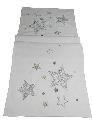 khevga mesa decoración Navidad: Camino de mesa Navidad oro blanco plata estrella width=