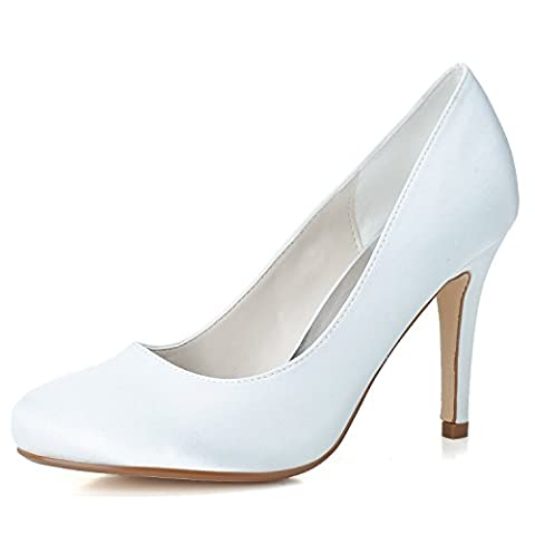 Women Heel Pump Shoes Sandal Simple Tips, White, US5/EU35/UK3