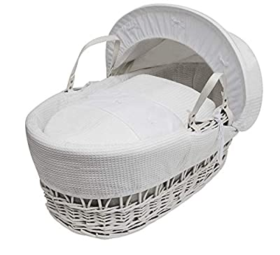 White Waffle With Bows Moses Basket Dressings only(Basket not included)
