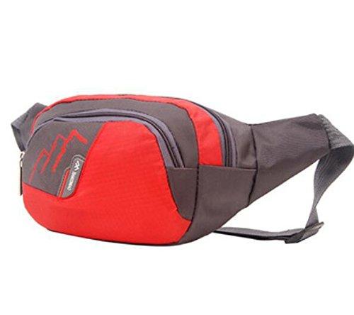 ZYT Mann Taschen Geldbörsen Multifunktions Nylon wasserdicht im freien Radtourpaket Red