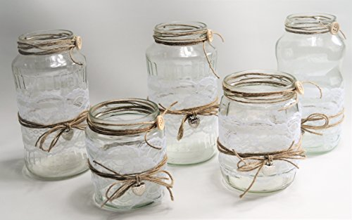 5 Windlichter Vasen Hochzeit Tischdeko Herz Spitze Vintage Taufe Jute Kerzenhalter TD0041