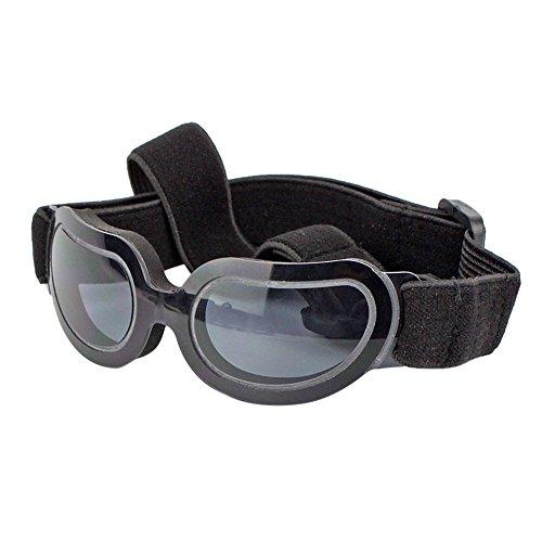 Roblue Hundesonnenbrille für Kleine mittelgross Hunde Welpen Sommer Verstellbar Outdoor Hunde Gläser Bunt Blau Schwarz Grau