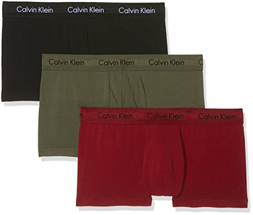 Calvin Klein Herren Boxershorts Cotton Stretch-3-Pack Low Rise Trunk, 3, Mehrfarbig (Schwarz / Dylan Rot / Hunstman Yrs), Small (Rise Low Pouch)
