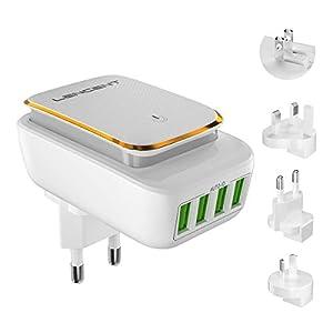 Adattatore Universale da Viaggio, LENCENT Spina USB a 4 Porte con Luce Notturna Touch, Adattatori Prese Caricatore per… 41vq0WSRQeL. SS300