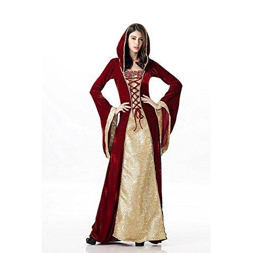 Mittelalterliches Burgfräulein Kostüm Rot/Gold in Deluxe-Ausführung Gr. XS/S Kleid