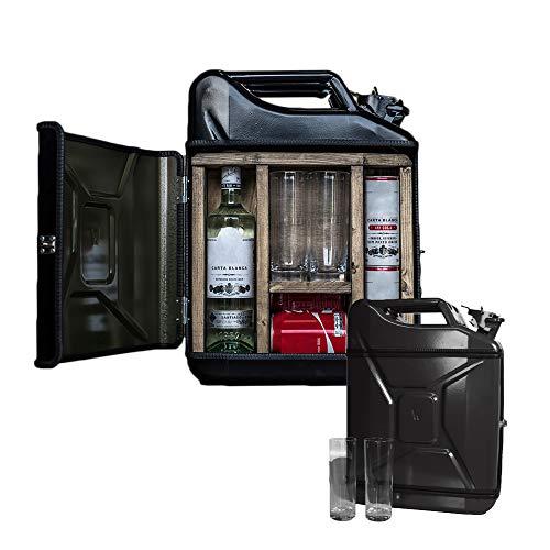 MikaMax - Jerrycan Mix Drink Bar 20L - Whiskey Bar- Mobile Bar - Benzinkanister bar - mit 2 Longdrink Gläsern - Schwarz - 20 Liter - Holz und Metall - 46.5 x 34.5 x 14 cm - Kanister Barschrank