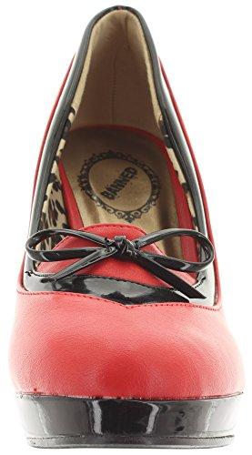 Banned - Scarpe con plateau Donna Rosso (Black-Red)