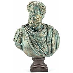 Marcus Aurelius Büste - römischer Kaiser Statuen bronziert mit Sockel - Forum Traiani   Skulpturen Replik des Philosoph und Imperator Mark Aurel   Archäologische Museum Repliken   Imperium der Römer