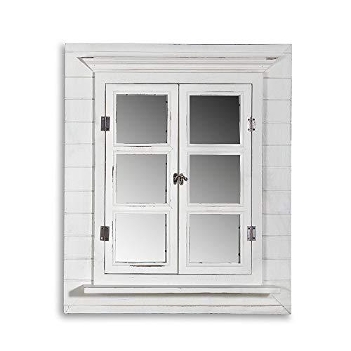 Melko Wandspiegel mit Fensterladen und Ablage, Shabby Chic Style, Vintage Look, als Fenster, Deko, 62x42x6cm, weiß