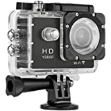 Floureon Y8 WiFi Action Sport Cam Impermeabile Full HD H264 1080p 12Mp Video Helmetcam Videocamera Subacquea (Nero)