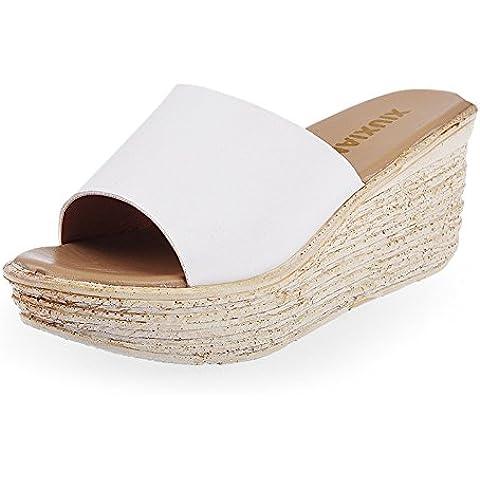 Scarpe estive/Pantofole spessa/Una parola pantofola/Piattaforma nero Zeppe Sandali e ciabatte/