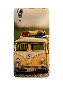 Amez designer printed 3d premium high quality back case cover for Lenovo A6000 (Yellow bus nd woman shadow)