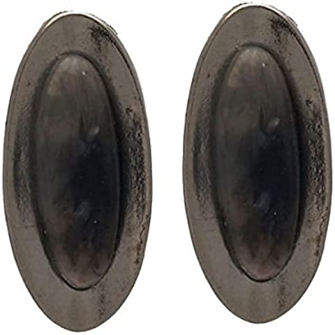 CASCATA Orecchini d'argento ovale grigio Clip - Orecchini Di Clip D'argento Ovali