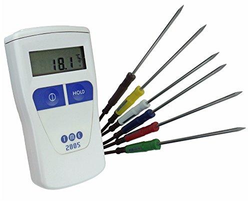 TME CA2005-PK Termometro Professionale di Precisione con 6 Sonde ad Ago, Linea Professionale, Multicolore
