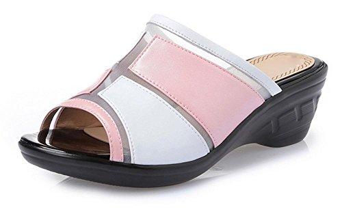 mode d'été cool pantoufles pantoufles femmes avec une pente avec des sandales grands chantiers Mme light pink