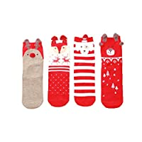 Panda Legends 4 Pairs Children Socks for 3-5 Year-Old Boys&Girls Thick Short Stockings Kids Cute Crew Socks Warm