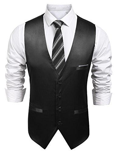 Burlady Anzugweste Herren V-Ausschnitt Ärmellose Westen Slim Fit Smoking Sakko Herrenweste Herrenanzug Anzug Business Hochzeit (EU 56(Hersteller:XXL), 85-Schwarz)