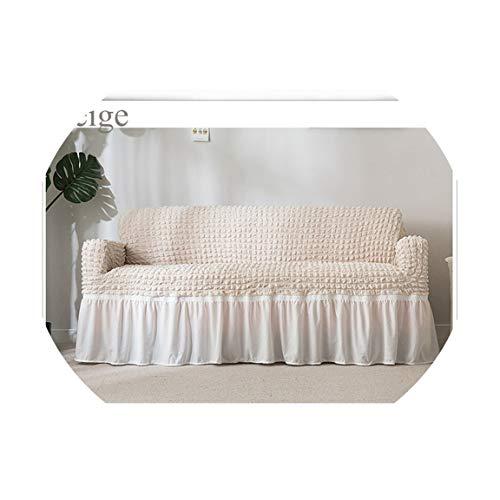 XFkbeA - Copridivano in Plaid Popcorn, Avvolgente, Elasticizzato, con Gonna per Poltrona/mobili, Beige, Three-Seat Sofa