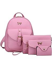 Gfjhgkyu utili ufficio articoli 4pcs/set Fashion Bowknot donne in ecopelle zaino Crossbody frizione della borsa–nero rosa