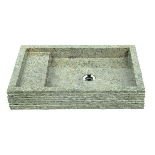 wohnfreuden Marmor Waschbecken 60 cm - rechteckig poliert grau ideal als Steinwaschbecken oder Naturstein Aufsatzwaschbecken für Bad Gäste WC