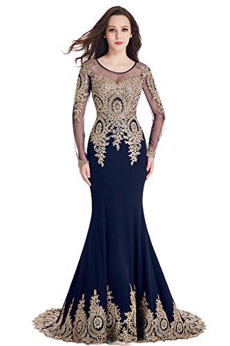 Babyonline Damen Lang Applikation Abendkleider Ballkleid Brautkleider 46