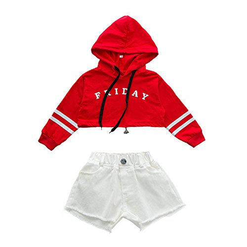 VoleseniTM Mädchen Kinder Modern Jazz Hip-Hop Dancewear Kids Dance Show Kostüme Top&Shorts, Red Top+White Shorts, 130 cm (Red Hip Hop Kostüm)
