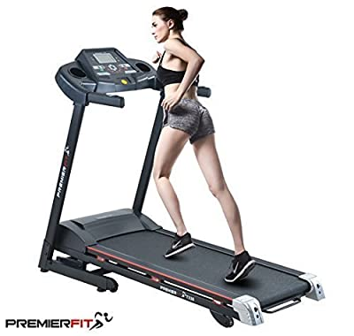 PremierFit T330 - Motorised Electric Treadmill/Folding Running Machine with 20-Level Automatic Incline - Heart Rate Monitor, AUX/USB/SD Inputs and Speakers - 4.5HP Motor by Optimum Nutrition