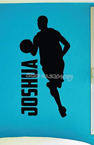 Njuxcnhg personalisierte benutzerdefinierte Name Jungen Basketball dribbeln wandaufkleber wohnkultur Vinyl Aufkleber Wohnzimmer Sofa Hintergrund dekor 42x86 cm