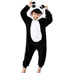 Minetom Unisexo Adulto Anime Unicornio Kigurumi Pijamas Traje Disfraz de Halloween Niños Animal Ropa de Dormir Carnaval Cosplay Panda M (105-115CM)