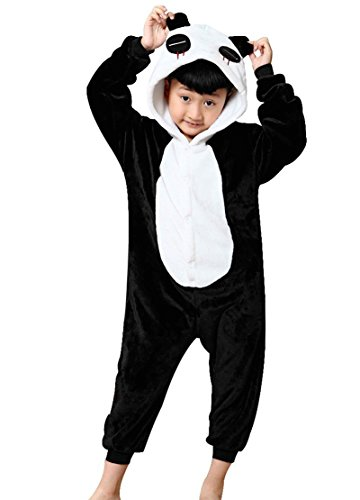 Minetom Kinder Einhorn Karikatur Tier Pyjama Halloween Karneval Fasching Kostüm Unisex Erwachsene Schlafanzug Jumpsuit Cosplay Panda 2XL(135-145CM)