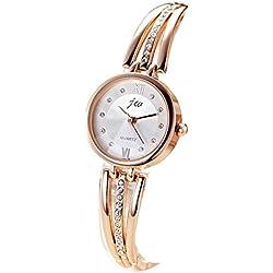 TOWEAR Ladies Girls Wristwatch Golden Bracelet Chain Waterproof Watch