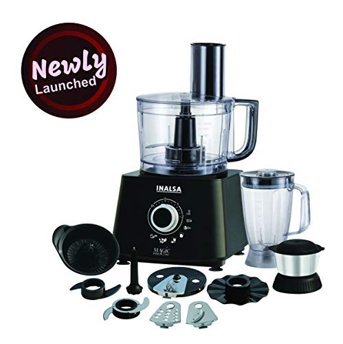 Inalsa Food Processor 1.4L Magic Pro-700 Watt with 2 Multipurpose Jar, Chopper, Atta Kneader& Egg Whisker(Black/Silver)