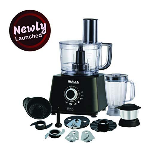 Inalsa Food Processor 1.4L Magic Pro-700 Watt with 2 Multipurpose Jar, Chopper, Atta Kneader& Egg Whisker(Black/Silver)