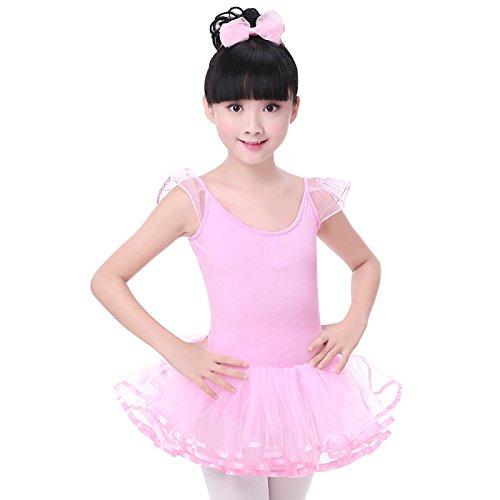 Mädchen tanzen Kleidung Kind Kreuz Ballett Baumwolle + Garn Kleid , pink , 3xl (Hiphop Tänzerin Kostüm)