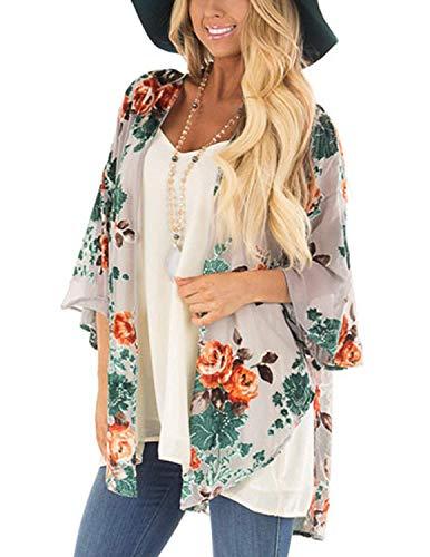 Damen Sheer Chiffon-Cardigan Halbe Hülse abdecken Blumen Kimono, Nackt Bunt, S