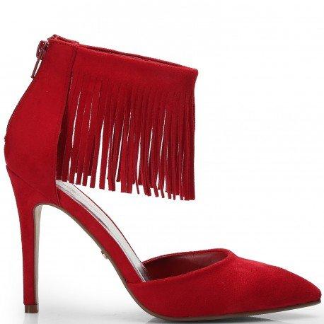 Ideal Shoes - Escarpins effet daim avec brides frangées Jackie Rouge