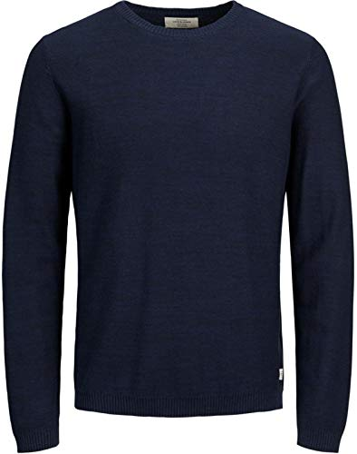 Jack & Jones Jornewfargo Crew Neck, Pull Homme, Bleu (Total Eclipse Knit Fit), Larg