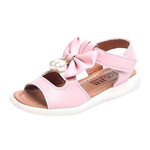 SOMESUN Fashion Baby Mädchen Sandalen Kinder Prinzessin Niedlich Perle Bowknot Sommer Weich Eben Strand Atmungsaktiv Beiläufig Freizeit Schuhe (EU26, Rosa #1) (Air Jordan 11 Baby-schuhe)