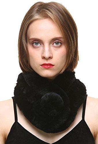 vogueearth Pelo Sintético Pelaje Artificial Piel Sintética Mujer Invierno Más Cálido Wraps Bufanda Fular Envolver Mantón Estolas Capes Sintético Negro
