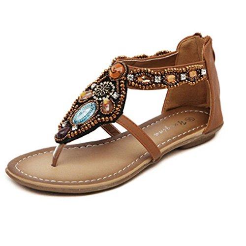 Fulltime® Chaussures Femme Bohême Style Zipper Flats perlage Casual ouvert Toe Sandals Marron