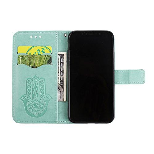 iPhone X / iPhone 10 5.8 Zoll 2017 Hülle, [Premium Leder Serie] Schutzhülle PU Leder Flip Tasche Case mit Integrierten Kartensteckplätzen und Ständer für Apple iPhone X ( + Stöpsel Staubschutz) (6) 11