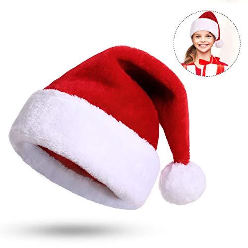 KONVINIT Cappello Babbo Natale Peluche per Bambino Cappellini Natale, Rosso Cappellino Babbo Natale Taglia Unica