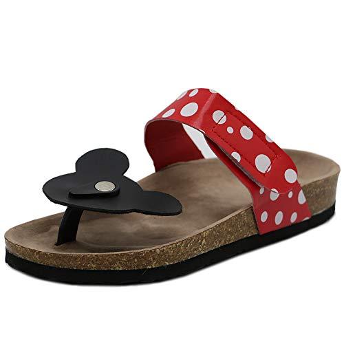 RAZAMAZA Damen Zehentrenner Mickey Mouse Pantoletten Sandalen Thongs Flip Flops Shoes Red 41 Asian