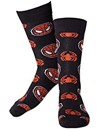 Mens officiels Marvel Spider-Man masque & Logo Crew Socks - UK 11-14 UE 43-46